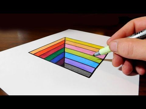 How To Draw An Easy Anamorphic Hole For Kids Trick Art On Paper