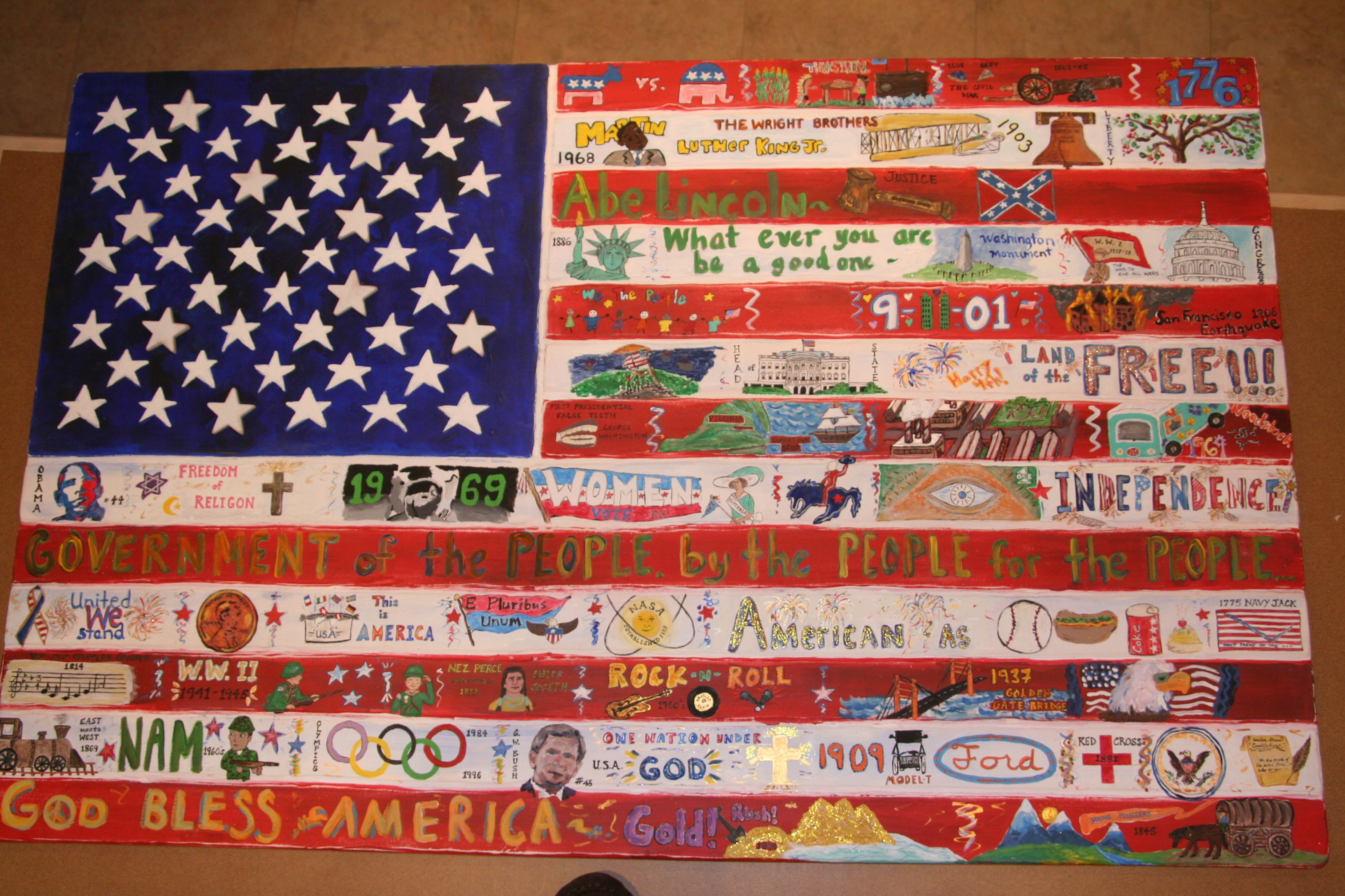 Middle School American Flag Art Project