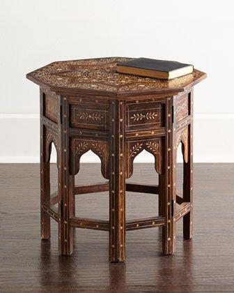 Indian Designer Handmade Bone Inlay Moroccan Round Side Table