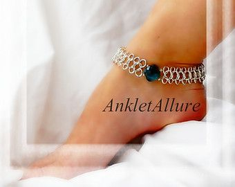 Dance Ankle Bracelets with Charms   ... Dance Anklet Aqua Crystal Sideways Infinty Chain Silver Ankle Bracelet