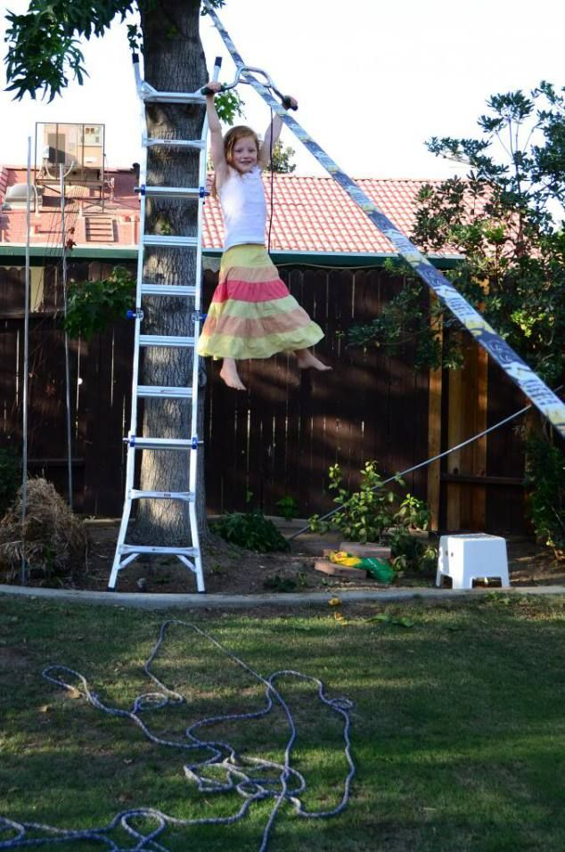 Turn your slackline into a zipline | Zip line backyard ...