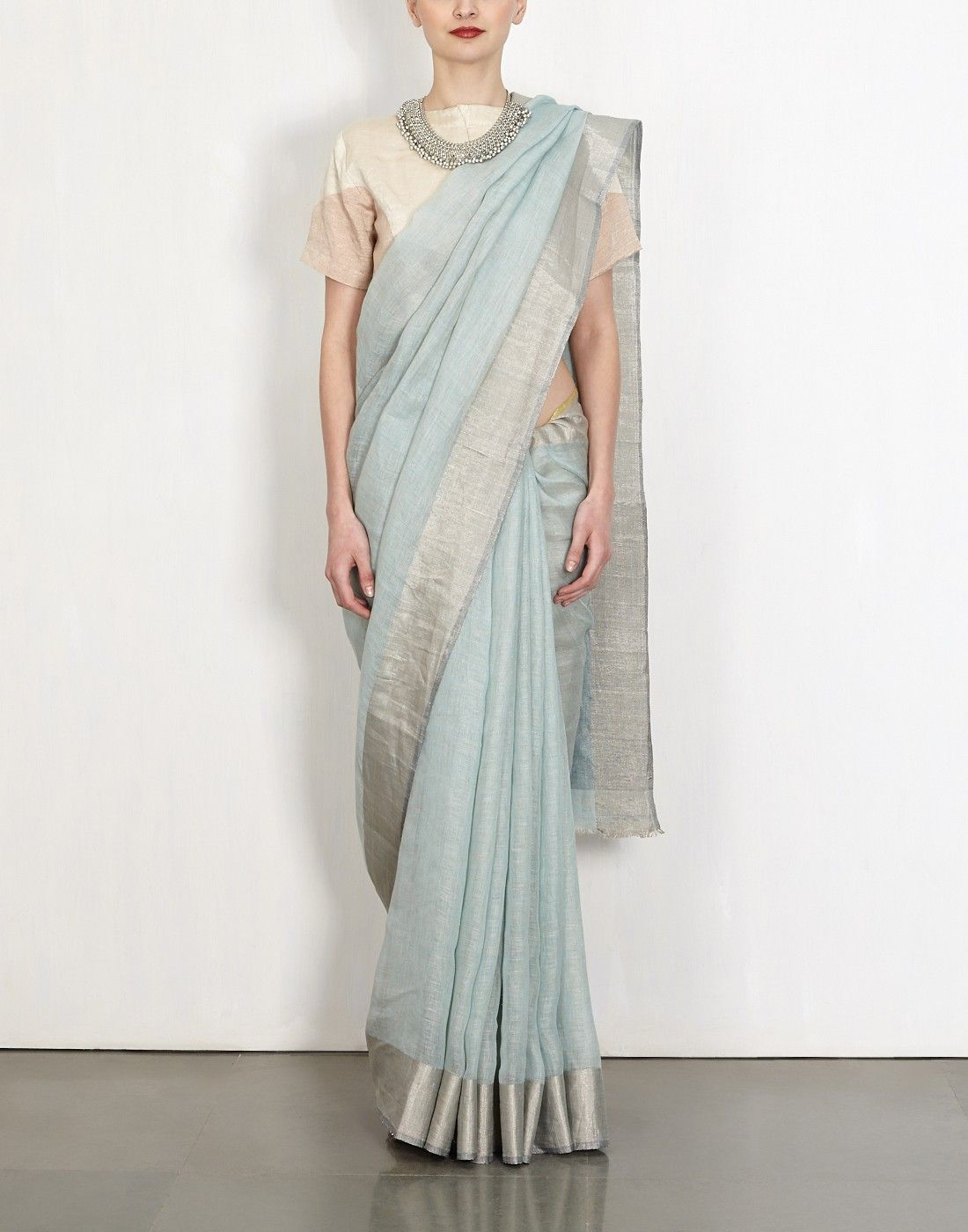 3d7a0f7a99 Stone Linen Sari-Anavila- img3 | Sarees | Handloom saree, Saree, Sari
