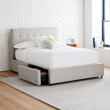 Grid Tufted Storage Bed In 2020 Storage Bed Upholstered Beds Upholstered Storage