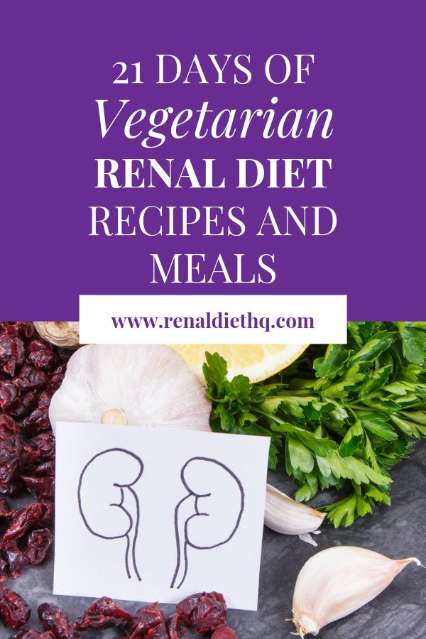 21 Day Vegetarian Meal Plan For Pre Dialysis Kidney Disease Renal Diet Recipes Renal Diet Kidney Diet Recipes