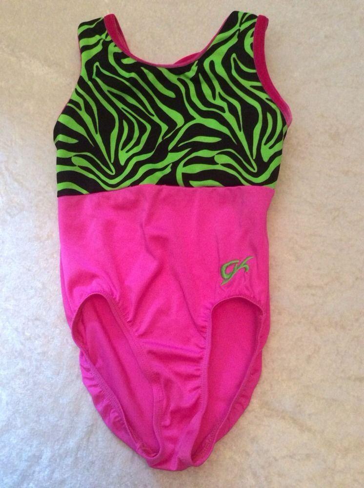 57c1c79ef7fb Gk Elite Leotard Child Medium Black Pink Green Animal Print Bow Back # GKElite