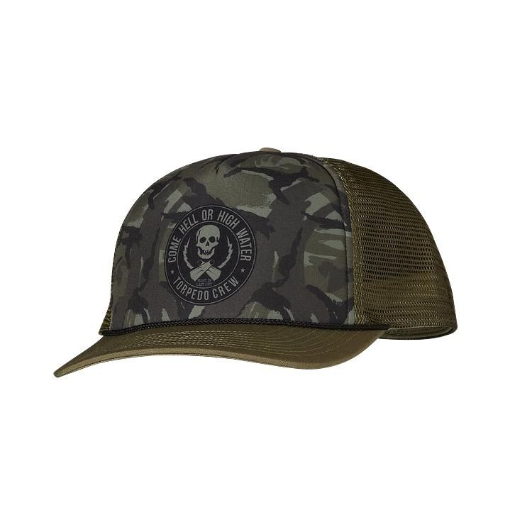 2fe684a9 The 5-panel trucker-style hat is made of organic cotton canvas and  polyester mesh and features our highest crown to accommodate larger head  sizes.