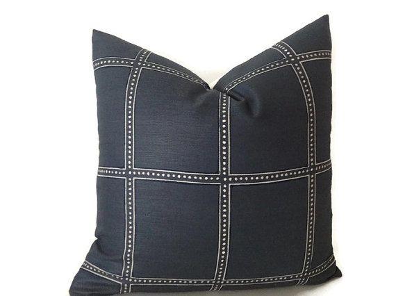 Zak and Fox Geometric Squares Pillow Cover, Blue Pillow, Designer Pillow, Decorative Throw Pillow Cover, Home Decor, Home and Living