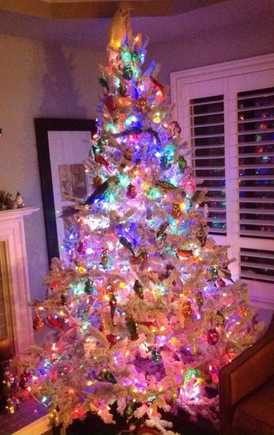 42+ Flocked tree with colored lights trends