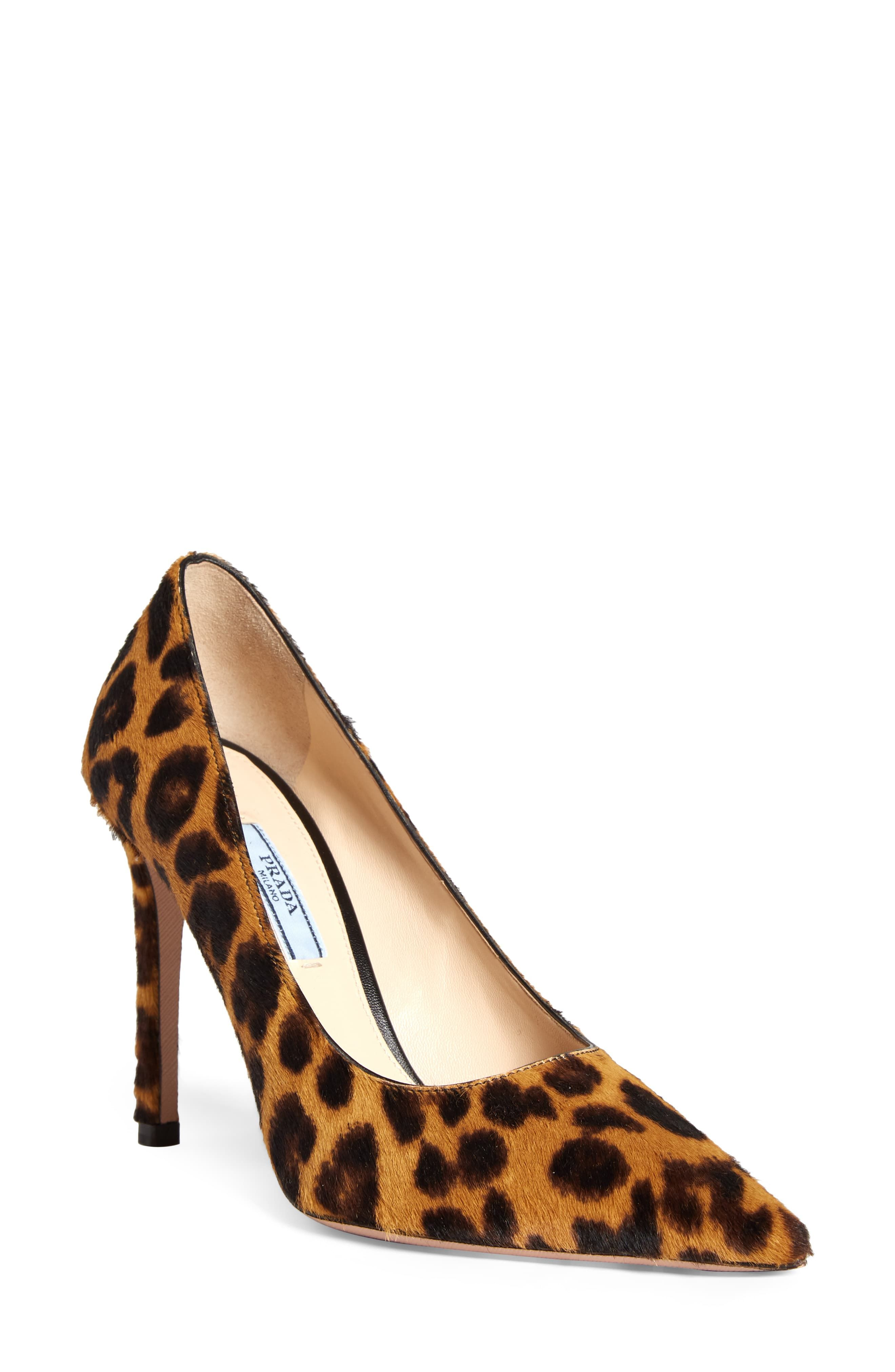 c50db4b596c Women's Prada Leopard Print Genuine Calf Hair Pointy Toe Pump, Size ...