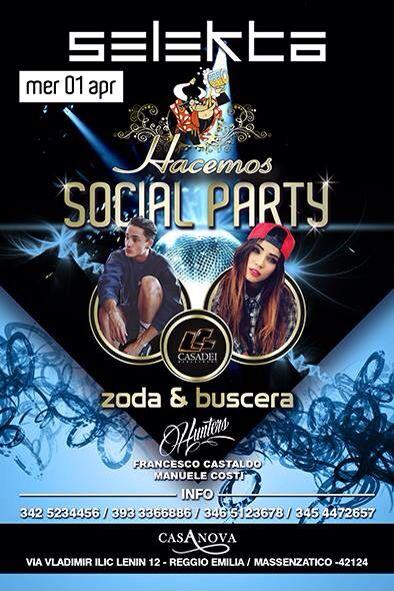 Mercoledì 1.4.15 #socialparty #zoda&buscera #dimitrimazzoni #casanovaristodisco #mmf #hunters #francescocastdo
