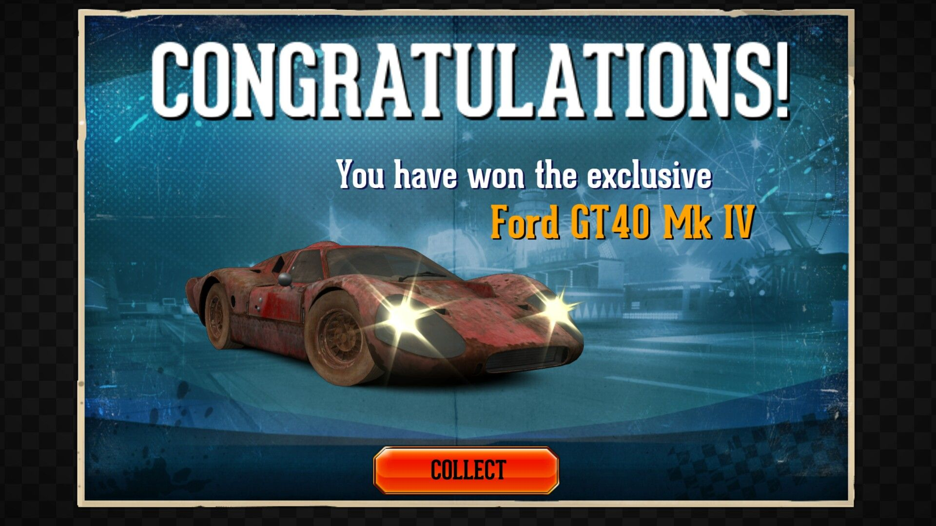 Here's a Ford GT40 Mk IV season prize car from the golden age of CSR