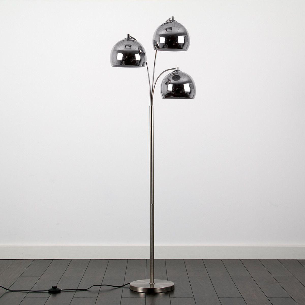 Dantzig Satin Nickel 3 Arm Floor Lamp with Chrome Dome