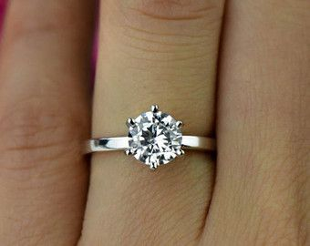 Sz 9 12 1 2 Ct Promise Ring Round Solitaire Engagement Ring Etsy Round Diamond Engagement Rings Round Solitaire Engagement Ring Classic Engagement Rings