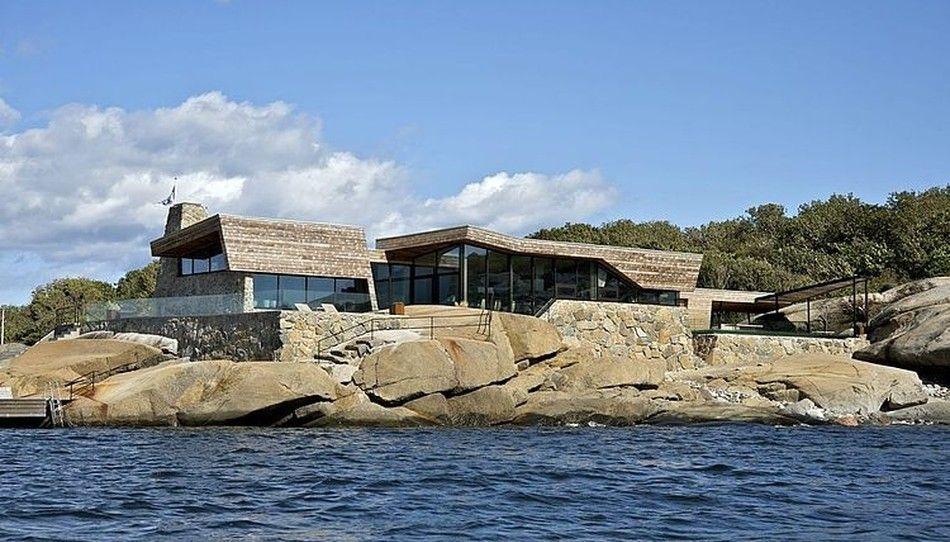 Splendide maison bois et pierre contemporaine de bord de mer en