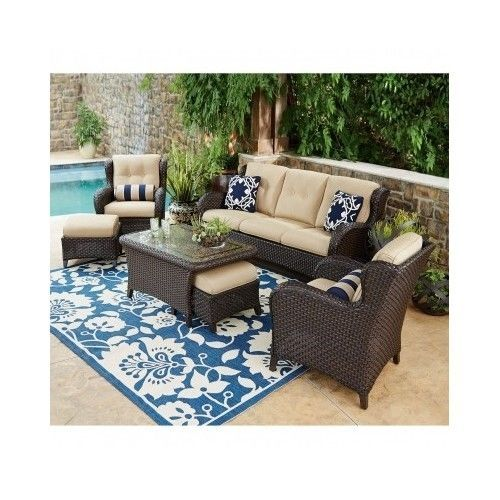 patio furniture pillows. Outdoor Patio Furniture Set Sofa Coffee Table Chairs Cushions Pillows Ottoman