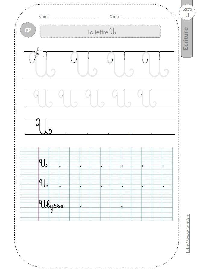 Bien connu la lettre U majuscule au CP:FICHES d'ECRITURE. Modèles d'écriture  QX48