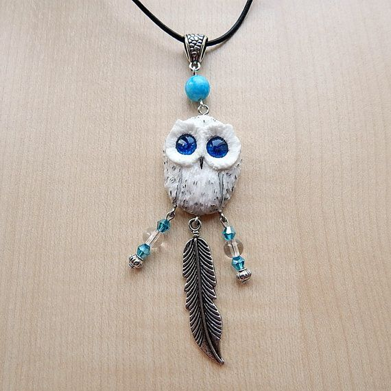 White owl pendant necklace jewelry handmade owl of clay mans owl pendant of polymer clay jewelry womens vialatteaart aloadofball Image collections