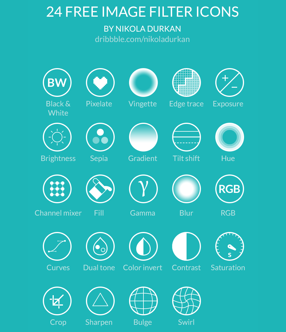 24 Free Image Filter Icons, #Filter, #Free, #Graphic #Design, #Icon, #PSD, #Resource