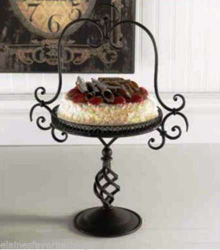 TUSCAN OR FRENCH COUNTRY SCROLLED IRON CAKE STAND 21\  TALL BY 10\  ROUND & Tuscan or french country scrolled iron cake stand 21\