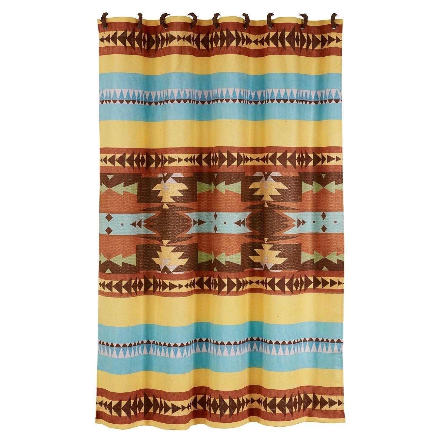 Hiend Accents Meza Southwest Shower Curtain 72x72 Brown 72 X