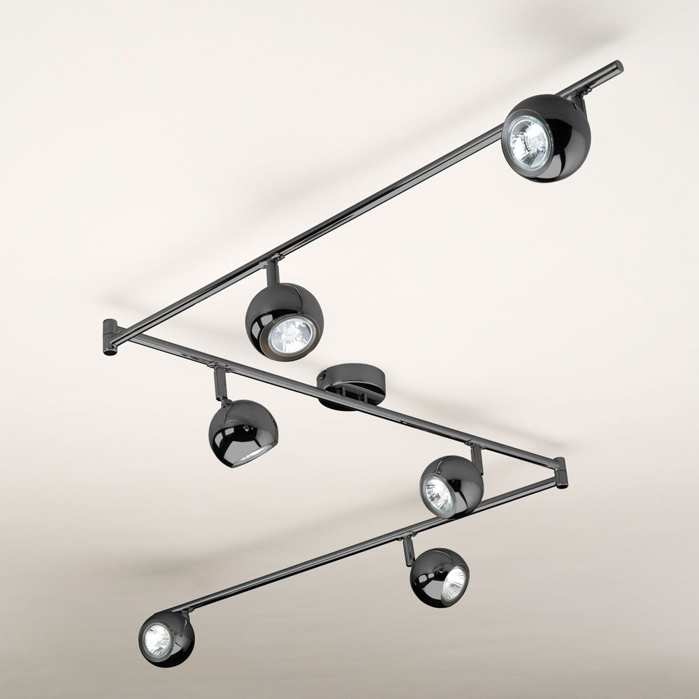 Modern black chrome retro style 6 way gu10 kitchen ceiling spot modern black chrome retro style 6 way gu10 kitchen ceiling spot light spotlight aloadofball Image collections