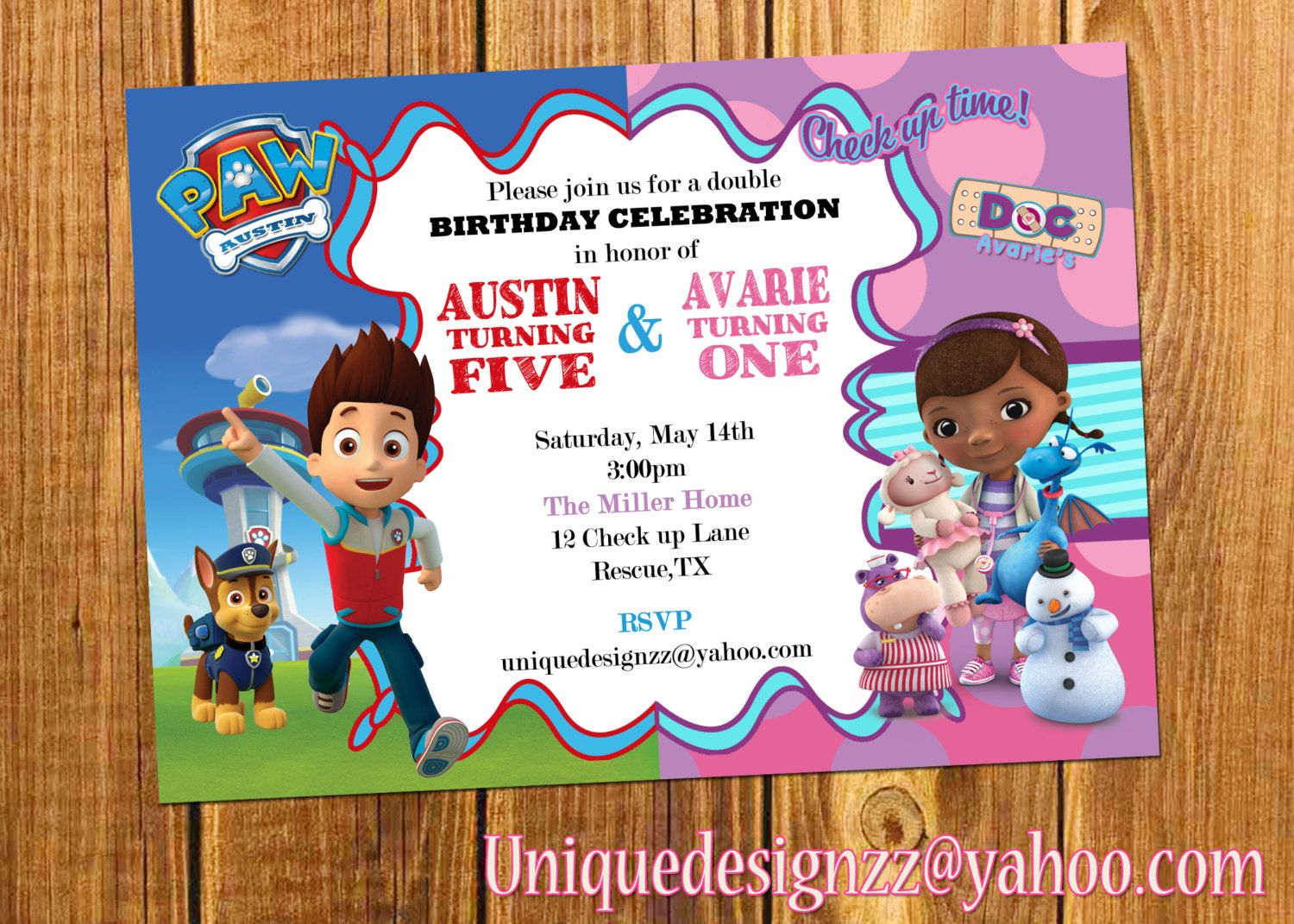 Paw Patrol and Doc Mcstuffins Double Birthday Party Invitation ...