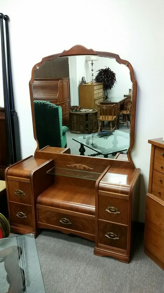 Vintage Waterfall Art Deco Dresser And Bench At Quality Used Furniture  Warehouse. 214 232