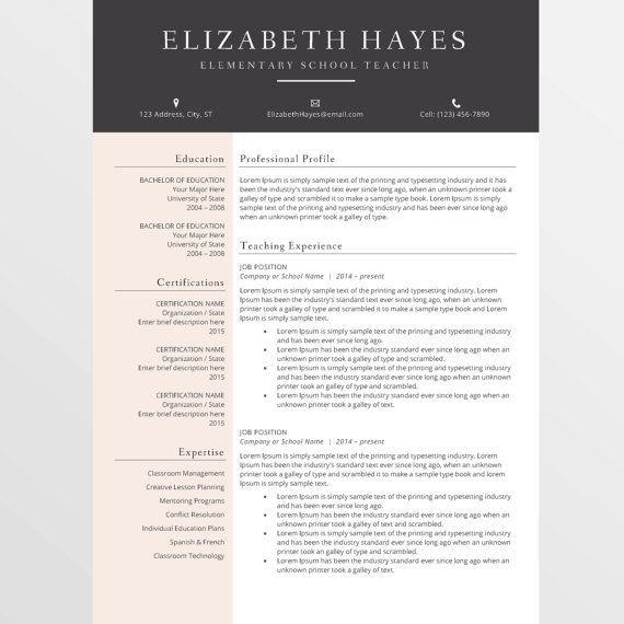 Teacher Resume Template, CV Template for MS Word, Creative