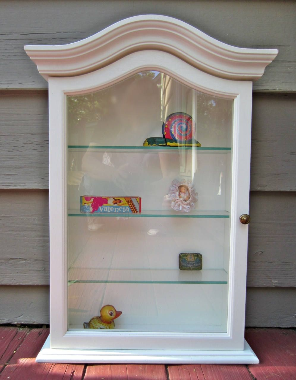 Vintage Country French White Curio Display Cabinet Wood And Gl Self Locking Nice By Candlewoodvintage
