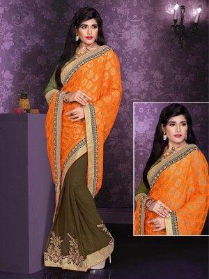 Orange Mehandi Green Viscose Georgette Charming Partywear Saree