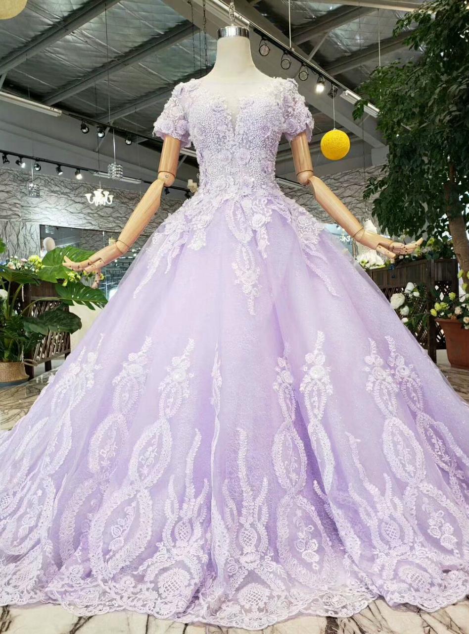 Purple Tulle Appliques Short Sleeve Wedding Dress With Beading Short Sleeve Wedding Dress Ball Gowns Beaded Prom Dress [ 1280 x 948 Pixel ]