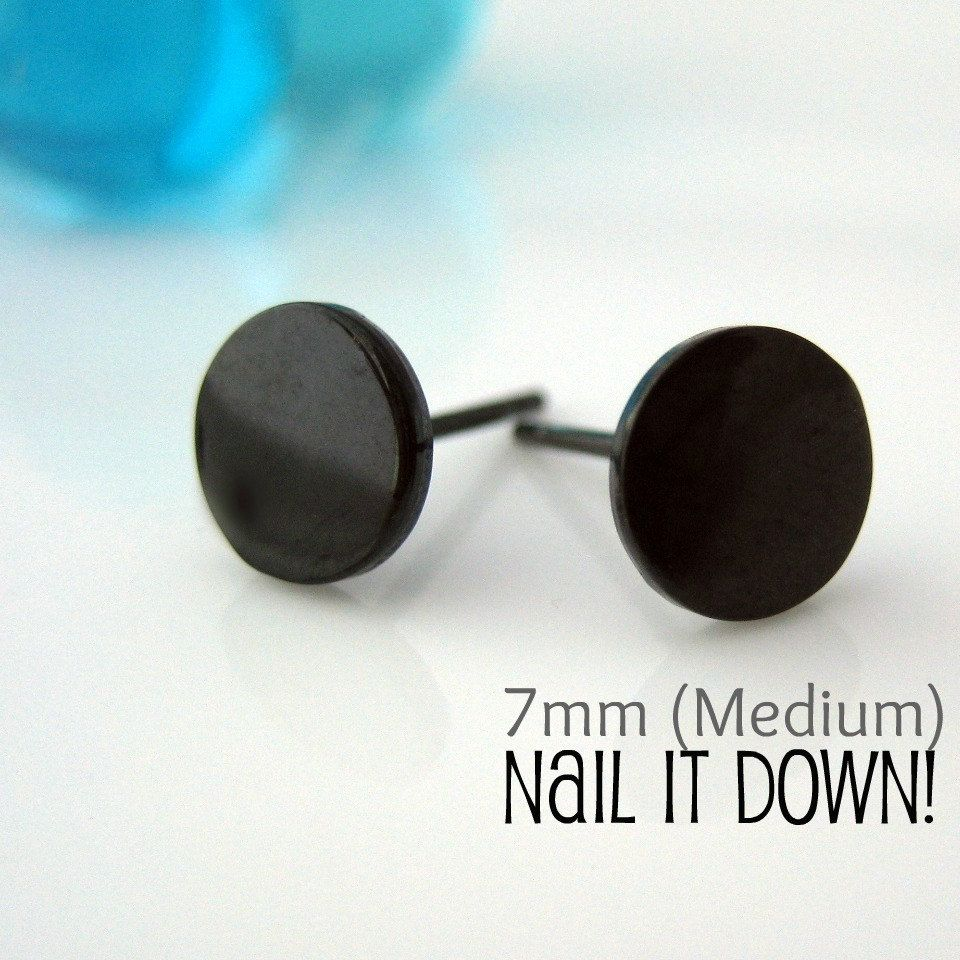 Mens Earrings Black Stud, Earrings For Men, Nail It Down, Black Gold Plated  Over Silver Disc,goth Or Gothic Style (no420s)