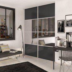 Porte De Placard Coulissante Gris Graphite Miroir Spaceo L 98 7 X H 250 Cm Sliding Cupboard Living Room Turquoise Home Decor