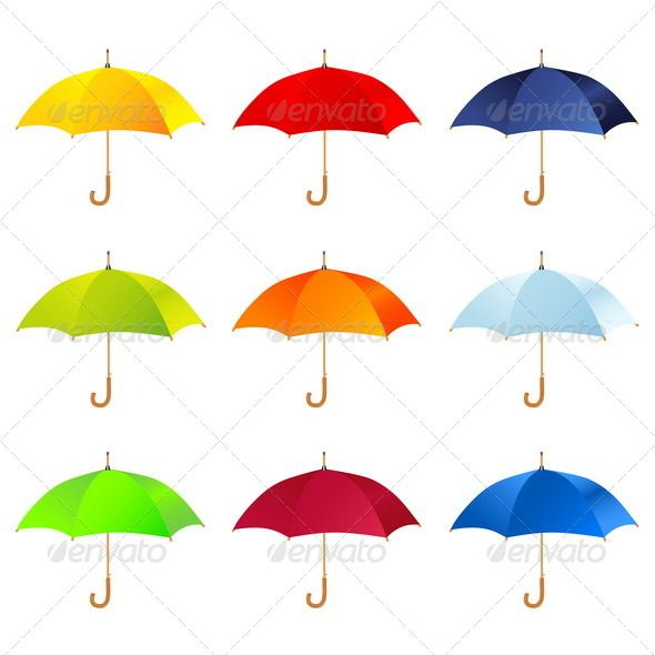 Set of Umbrellas ...  accessory, art, autumn, background, beach, blue, business, concept, design, element, green, icon, illustration, object, open, protect, protection, rain, red, safety, security, set, shape, sign, summer, symbol, umbrella, vector, weather, white