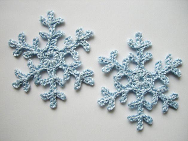 Häkelapplikation Schneeflocke | Schatzkisten, Schneeflocken und Dawanda