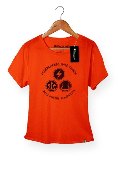 Camiseta Feminina Babylook Acampamento Meio Sangue Percy Jackson