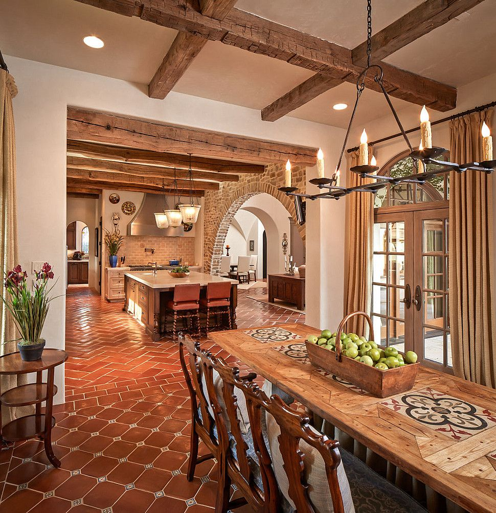 Spanish colonial kitchen dining area thompson custom for Home designers in my area