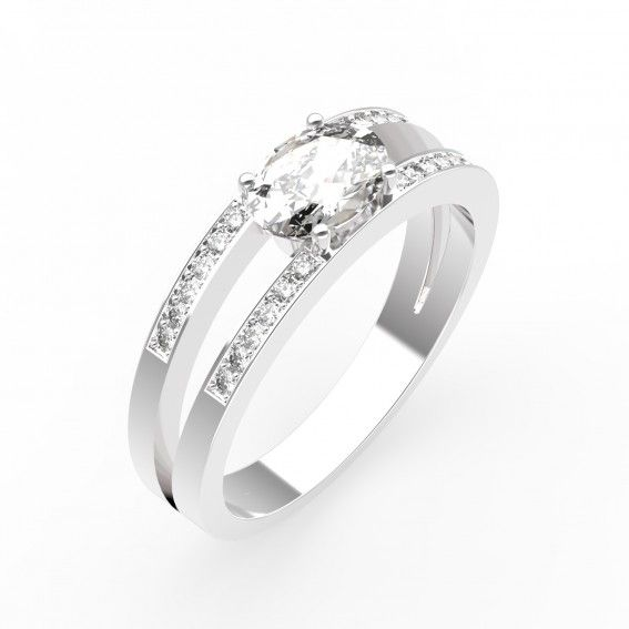 Bague Or blanc 18 cts, Diamants - Bague CASSANDRA - Maison Gemmyo Jeune et Joaillier