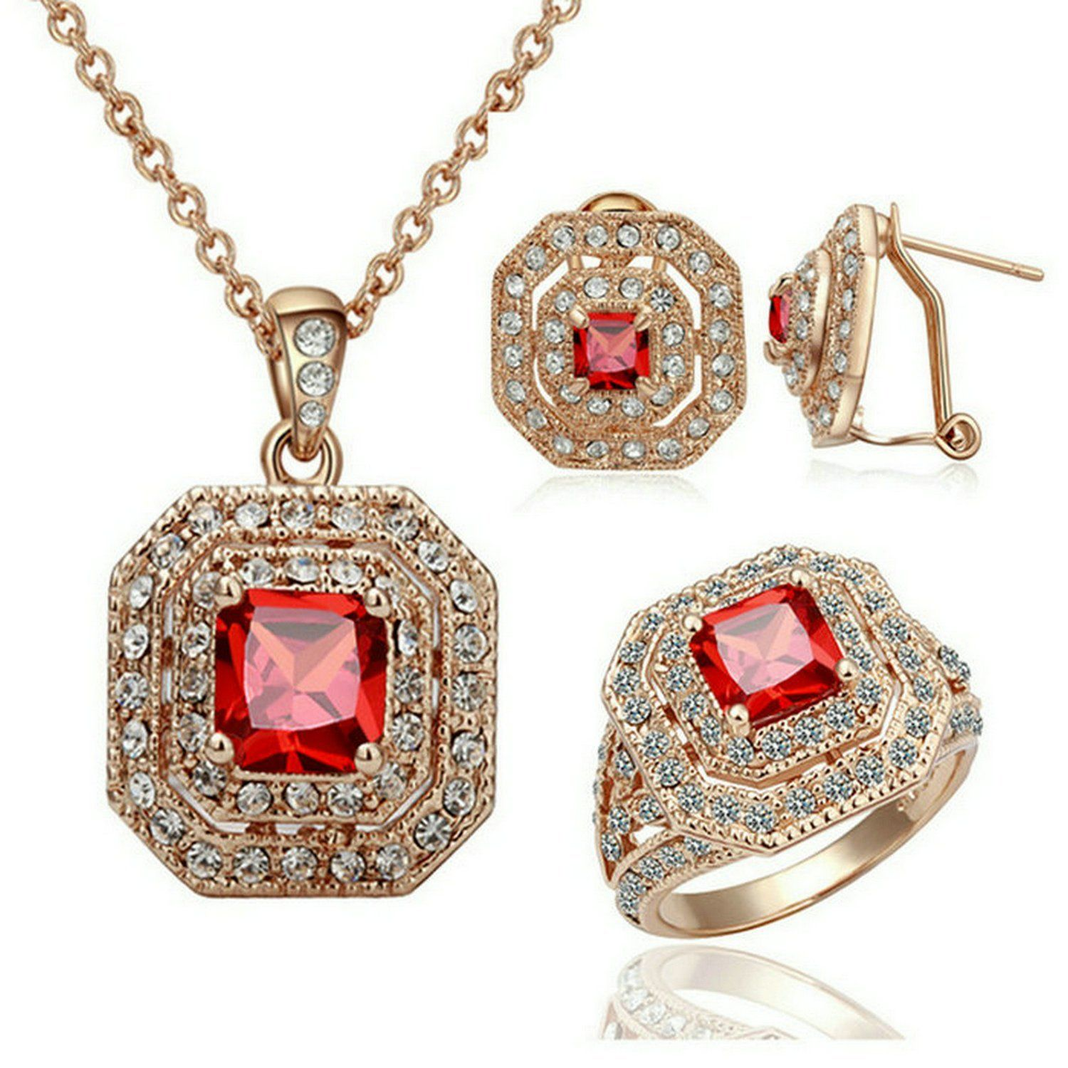 Yoursfs 18k Rose Gold Plated Vintage Ruby Necklace and Ring and