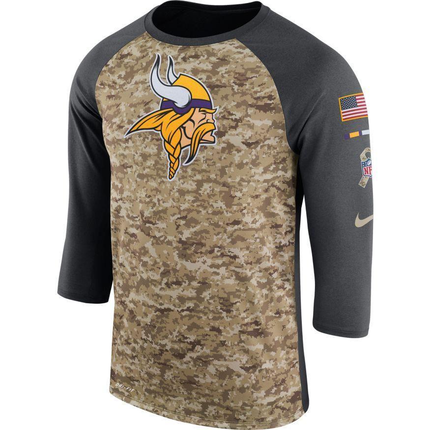 Men s Minnesota Vikings Nike Camo Anthracite Salute to Service Sideline  Legend Performance Three-Quarter Sleeve Shirt 049979f2c