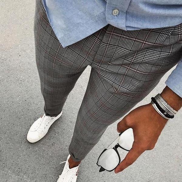 Pantalones Casual Recortada De La Tela Escocesa De Los Nuevos Hombres Pantalones De Hombre Moda Ropa De Hombre Casual Elegante Vestimenta Casual Hombres