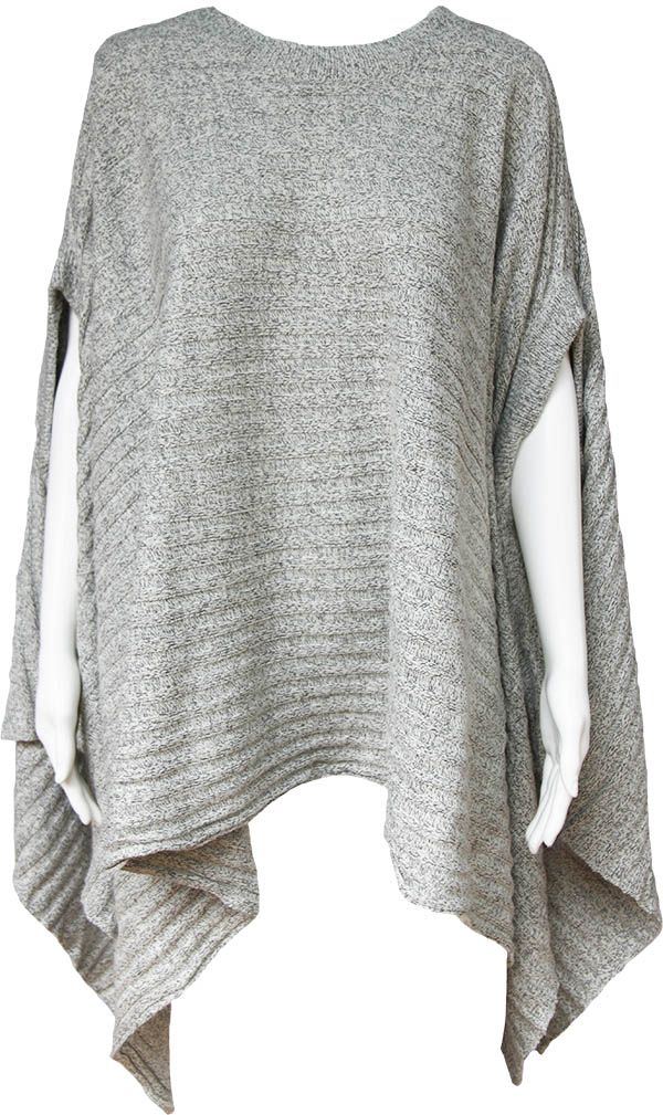 Product Details Oversized long line ribbed knit throw from Boho Australia  Silver marle knit  Round neck with arm holes and dramatic waterfall draped hemline  Heavier weight ideal when you need warmth  Fits sizes 10-20  Wear with a long sleeve white tee layered over leggings and boots