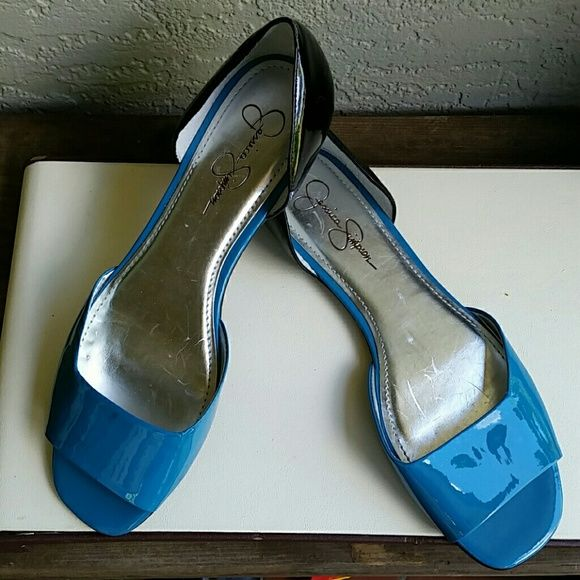 NWOT Jessica Simpson Turquoise & Black Open Flats Brand Jessica Simpson  Size 7 1/2 B Salesman Sample NWOT Turquoise & Black Patient Leather Open Peek Toe Flat Sandals  Super cute and comfy  Bundles available with discounts Jessica Simpson Shoes Flats & Loafers