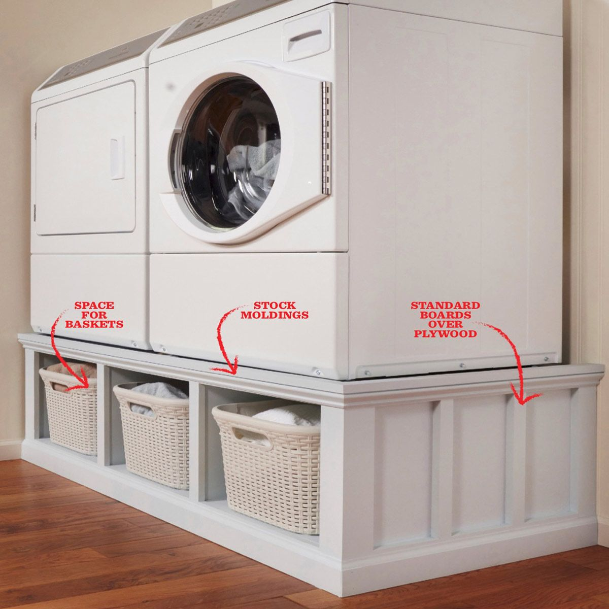 How to Build a Laundry Room Pedestal #bathroomlaundry