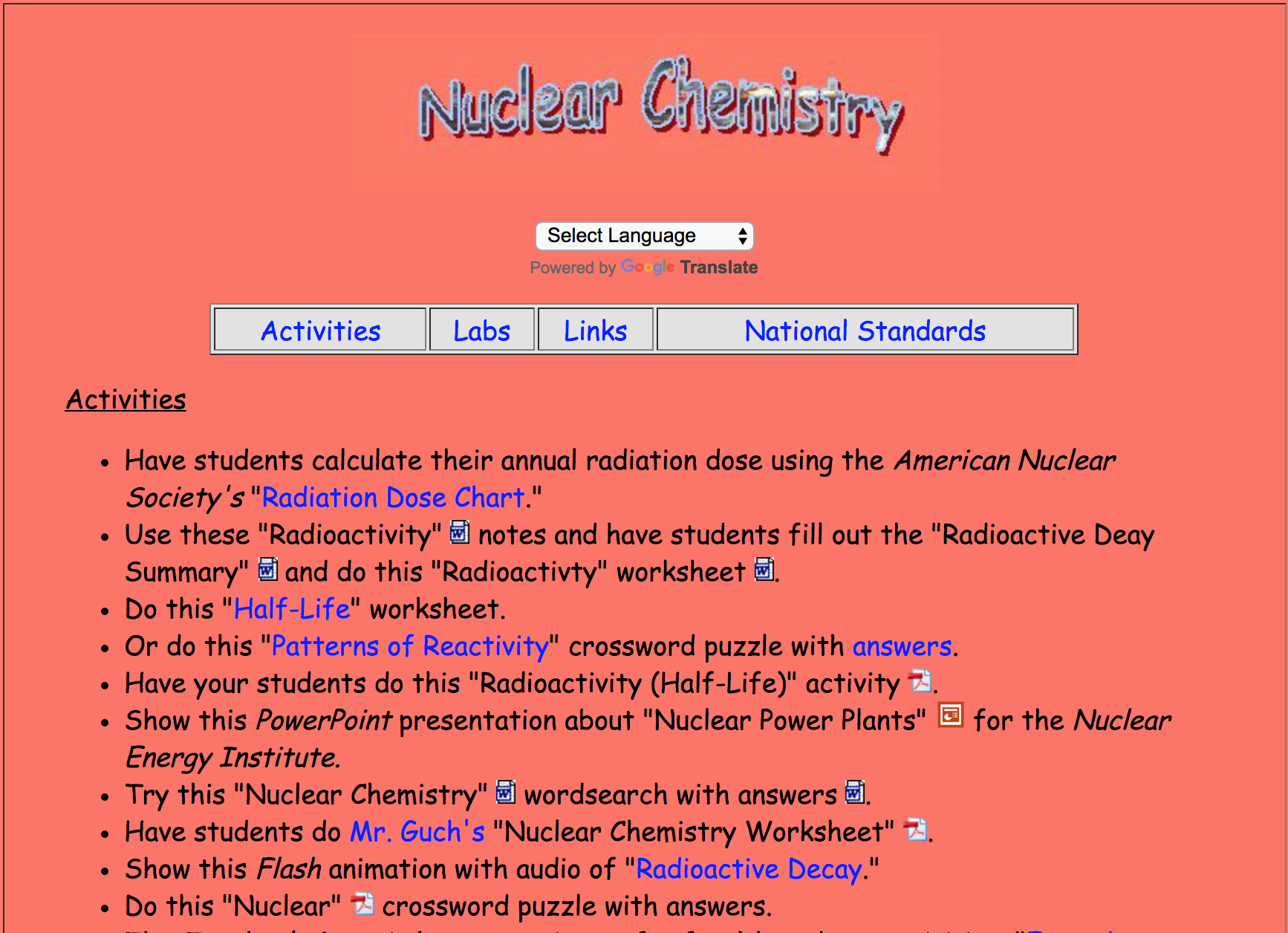 Nuclear Chemistry Activities With Images