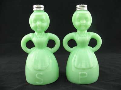 Jadite Lady Salt & Pepper Shakers, { I have this exact set