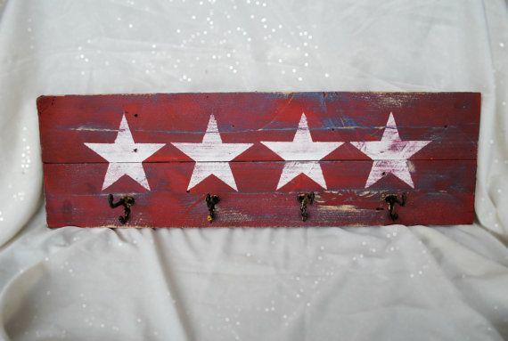Coat or Towel Rack Handpainted on Reclaimed Wood