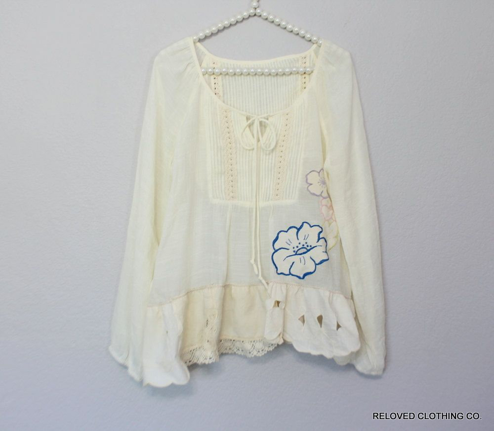 French Country Clothing Part - 37: Boho Chic Upcycled Shabby Womenu0027s Shirt / French Country Clothing /  Bohemian Creole Sugar Clothes /