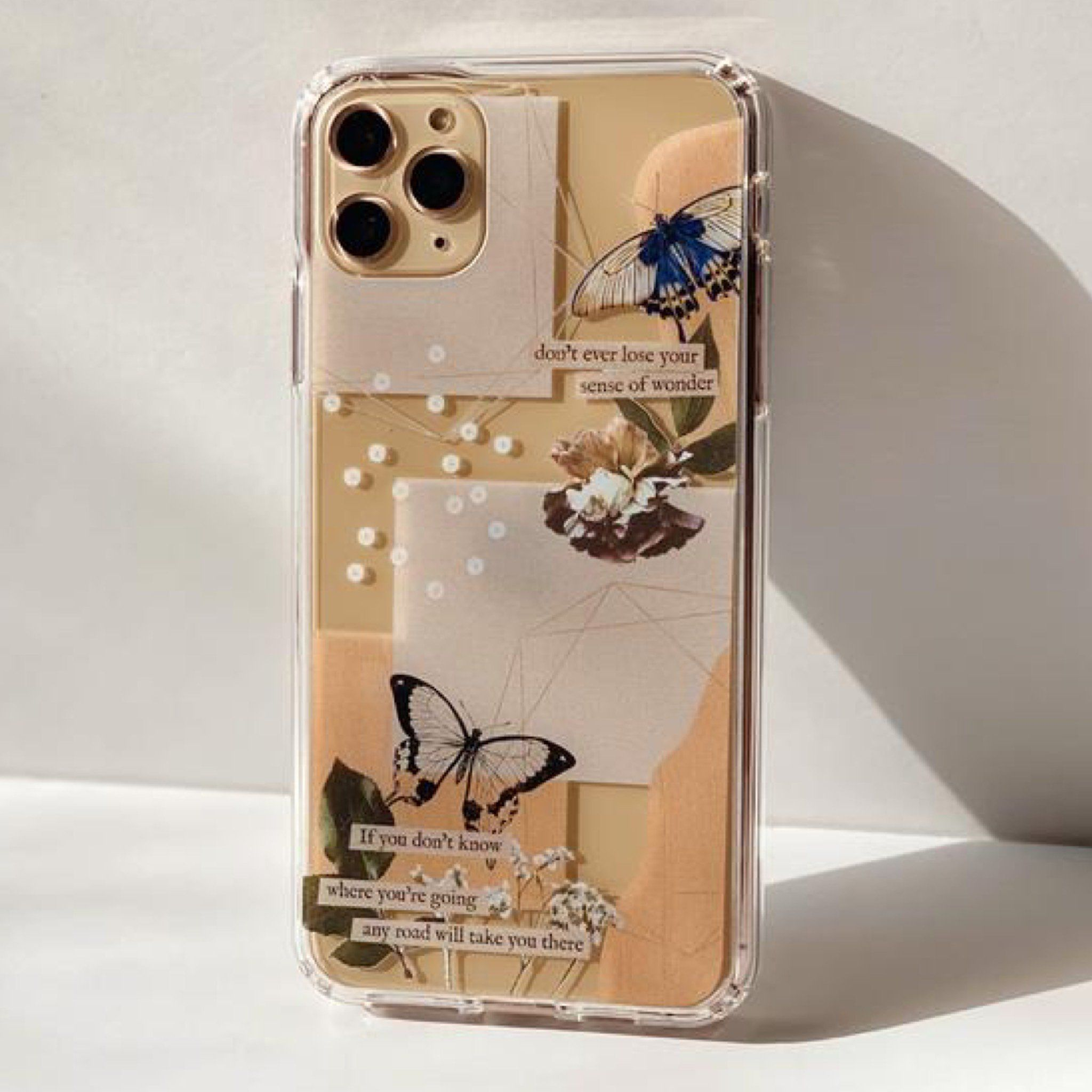 Aesthetic Butterfly Collage Clippings Clear Phone Case