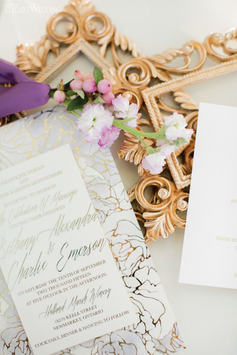 Gold foil wedding stationery! ENCHANTING PURPLE & WHITE FAIRYTALE ...
